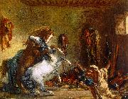 Arab Horses Fighting in a Stable Eugene Delacroix
