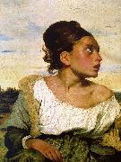 Girl Seated in a Cemetery Eugene Delacroix