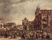 Pope Pius VI Blessing the People on Campo Santi Giovanni e Paolo sdg GUARDI, Francesco