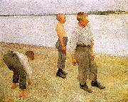 Boys Throwing Pebbles into the River Karoly Ferenczy