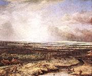 An Extensive Landscape with a Hawking Party Philips Koninck