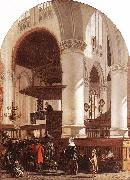 Interior of the Oude Kerk at Delft during a Sermon WITTE, Emanuel de