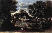 Landscape with the Gathering of the Ashes of Phocion by his Widow af POUSSIN, Nicolas