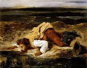 A Mortally Wounded Brigand Quenches his Thirst Eugene Delacroix