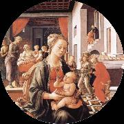 Madonna and Son with histories of the life of Holy Ana Fra Filippo Lippi