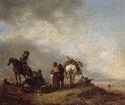 A View on a Seashore with Fishwives Offering Fish to a Horseman Philips Wouwerman