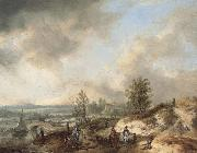 A Dune Landscape with a River and Many Figures Philips Wouwerman