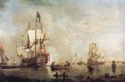 The Royal Caroline in a calm estuary flying a Royal standard and surrounded by an attendant barge and other small boats Thomas Mellish