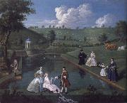 The Brockman Family and Friends at Beachborough Manor the Temple Pond looking towards the Rotunda Edward Haytley