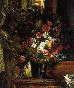 A Vase of Flowers on a Console Eugene Delacroix