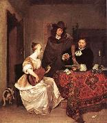 A Young Woman Playing a Theorbo to Two Men TERBORCH, Gerard