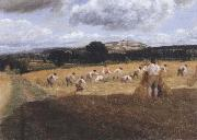Dynedor Hill,Herefordshire,Harvest field with reapers (mk47) George Robert Lewis