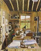 Major A.N.Lee in his hut ofice at Beaumerie-sur-Mer Sir William Orpen
