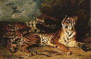 A Young Tiger Playing with its Mother Eugene Delacroix