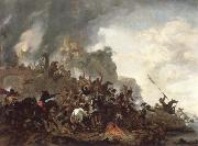 cavalry making a sortie from a fort on a hill Philips Wouwerman
