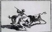 The Morisco Gazul is the First to Fight Bulls with a Lance Francisco de goya y Lucientes