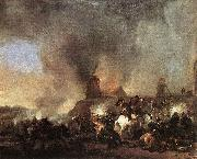 Cavalry Battle in front of a Burning Mill by Philip Wouwerman Philips Wouwerman