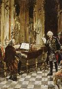 a romanticized artist s impression of bach s visit to frederick the great at the palace of sans souci in potsdam franz schubert
