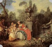 Lady and Gentleman with two Girls and a Servant LANCRET, Nicolas