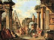 A capriccio of classical ruins with Diogenes throwing away his cup Giovanni Paolo Panini