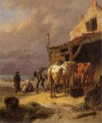 Draught horses resting at the beach Wouterus Verschuur