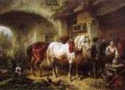 Horses and people in a courtyard Wouterus Verschuur