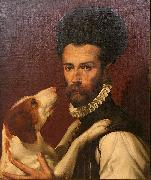 Portrait of a Man with a Dog Bartolomeo Passerotti