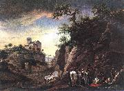 Rocky Landscape with resting Travellers Philips Wouwerman