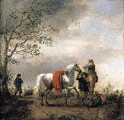 Cavalier Holding a Dappled Grey Horse Philips Wouwerman