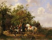 Compagny with horses and dogs at an inn Wouterus Verschuur