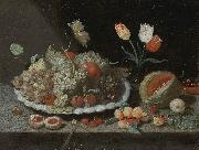Still life with grapes and other fruit on a platter Jan Van Kessel