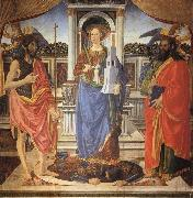 St.Barbara between SS.John the Baptist and Matthew Cosimo Rosselli