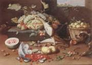 Still life of a watermelon,pears,grapes and melons,plums,apricots and pears in a basket,with a dog surprising a monkey and fraises-de-bois spilling ou Jan Van Kessel