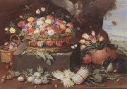 Still life of various flwers in a basket,tulips in a copper pot hortensias,asparagi and artichokes laid out on the ground,together with an owl,butterf Jan Van Kessel