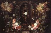Still life of various flowers and grapes encircling a reliqu ary containing the host,set within a stone niche Jan Van Kessel