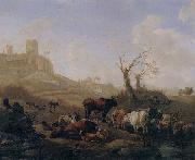 Cattle and sheep by a stream in a pasture,a town beyond William Romeyn