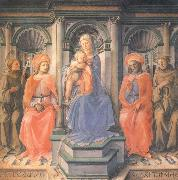 Madonna and Child Enthroned with Sts Francis,Damian,Cosmas and Anthony of Padua Fra Filippo Lippi