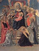 Madonna and Child Enthroned with Angels,a Carmelite and other Saints Fra Filippo Lippi