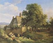Church at Graupen in Bohemia (mk09) Adrian Ludwig Richter