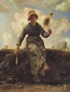 The Spinner,Goat-Girl from the Auvergne (san20) jean-francois millet