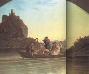 Crossing the Elbe in front of the Schreckenstein (mk10) Adrian Ludwig Richter