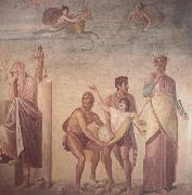 The Sacrifice of Iphigenia,Roman,1st century AD Wall painting from pompeii(House of the Tragic Poet) (mk23) Alma-Tadema, Sir Lawrence