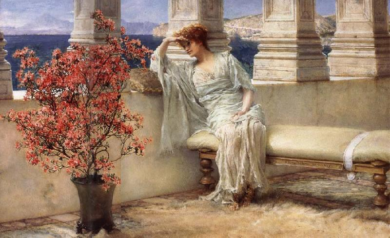 Sir Lawrence Alma-Tadema,OM.RA,RWS Her Eyes are with Her Thoughts and They are Far away