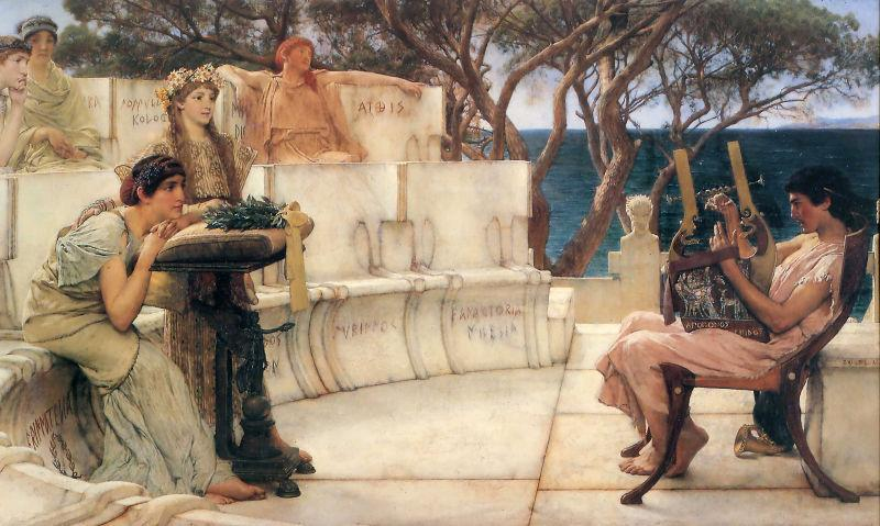 Sir Lawrence Alma-Tadema,OM.RA,RWS Sappho and Alcaeus